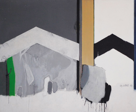 AFFICHE 69, 1969, acrylique sur panneau, 120 x 100