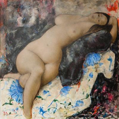 EPANOUIE, huile sur toile, cm 120 x 120